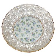 Early Dresden Richard Klemm Reticulated Floral Forget Me Not Bowl