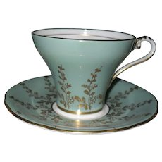 Vintage Aynsley Mint Green Corset Shape Teacup and Saucer