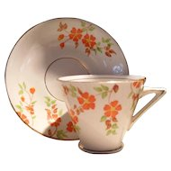 Vintage Art Deco T F & S Phoenix Orange Flowers Teacup and Saucer