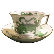 Wedgwood Colonial Williamsburg Chinese Tigers Green Teacup and Saucer