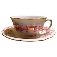 Rare Meissen Pink Dragon Gold Ming Teacup and Saucer