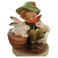 "MJ Hummel ""Playmates"" Boy with Bunny Rabbits 58/0 Figurine Western Germany"