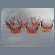 Set of Six Pink Depression Glass Etched Vodka Shot Glasses