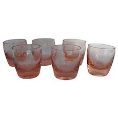 Set of Six Pink Depression Glass Etched Vodka Shot Glasses