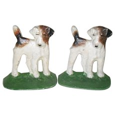 Hubley Vintage Cast Iron Fox Terrior Dog Bookends