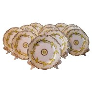 Set of 12 Antique Mintons England Gold Yellow Cabbage Roses Luncheon Dessert Plates G7260