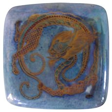 Wedgwood England Fairyland Blue Luster Dragon Square Covered Box Z 4829