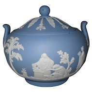 Vintage Wedgwood Blue Jasper Ware Sacrifice Sugar Bowl and Lid