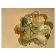 Sweet RC Monbijou Rosenthal Green HP Floral Gilt Candy Dish