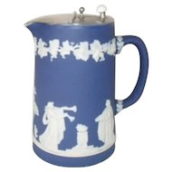 Vintage Adams Tunstall Cobalt Blue Dip Jasperware Pitcher with Hinged Lid