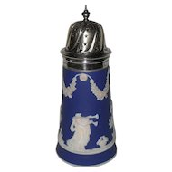 Vintage Adams Tunstall Cobalt Blue Dip Jasperware Sugar Shaker with Star Top