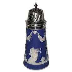 Vintage Adams Tunstall Cobalt Blue Dip Jasperware Sugar Shaker with Star Top