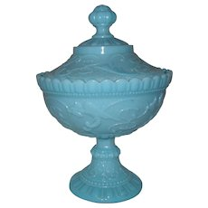 French Portieux Vallerysthal Blue Milk Opaline Glass Covered Comport Birds