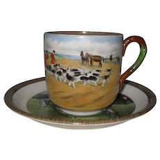 Vintage Copeland Lionel Edwards No. 5 & 8 Fox Hounds Equestrian Cup & Saucer