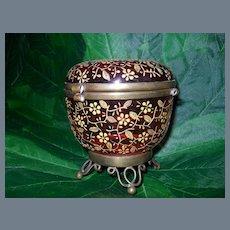 Antique Cranberry Glass Dresser Box with Gold