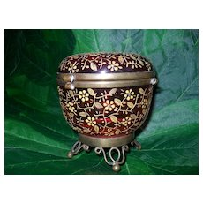 Antique Cranberry Glass Dresser Box with Gold