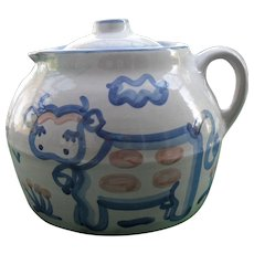 Vintage MA Hadley Bean Pot Cookie Jar Country Pattern Pig and Cow