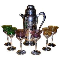 Vintage Art Deco Farber Bros New York Chrome Martini Set with Jewel Tone Glass