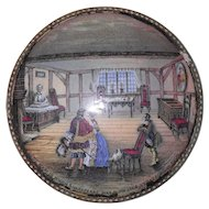 Antique Prattware Pot Lid The Room in Which Shakespeare was Born Stratford Avon