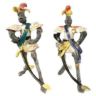 Exquisite Pair of Vintage Pottery Martini Italy Knight Figurines