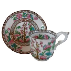 Coalport India Tree Multi Colored Scalloped Demitasse Cup and Saucer