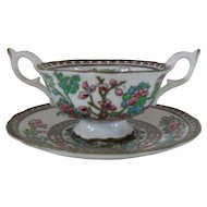 Coalport India Tree Multi Colored Scalloped Two Handled Soup Cup and Saucer