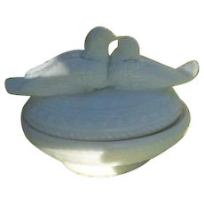 Antique Westmoreland Love Birds Opalescent Milk Glass Condiment Dish