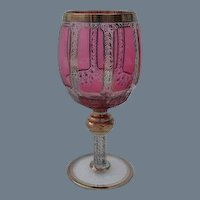 Moser Cranberry Ruby Gold Panelled Wine Glass