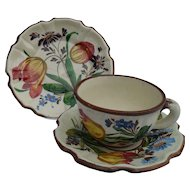 Vintage Italian Faience Floral Tulips Brown Trim Teacup, Saucer Plate Trio
