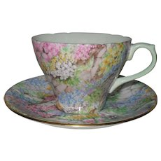 Vintage Shelley Rock Garden Chintz 13454 Teacup and Saucer
