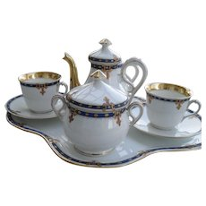 Darling Antique French Porcelain Breakfast Tea Set with Undertray for Two
