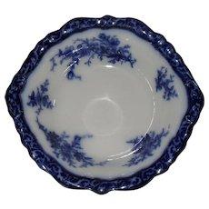 Antique Stanley Pottery England Flow Blue Touraine Pattern Handled Serving Bowl 1899