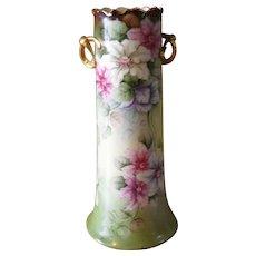 Huge Antique Wm Guerin Limoges Porcelain Vase Handpainted Wild Roses