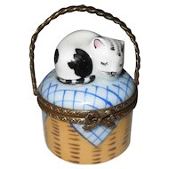 Vintage Limoges France HP Sleeping Cat on Picnic Basket Blue and White Pill Trinket Box