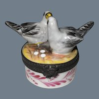 Vintage Limoges France HP Pair of Love Birds on Nest Pill Trinket Box