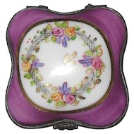 Vintage Classic Limoges Square Floral Plum Purple Enamel Pill Box