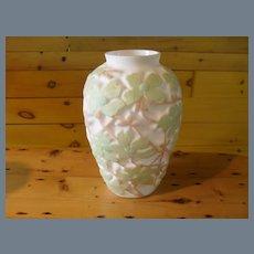 Huge Vintage Consolidated Dogwood Spring Green on White Tan Vase