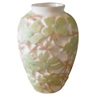 Huge Vintage Consolidated Dogwood Spring Green on White Tan Vase