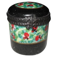 Vintage Limoges HP Red Floral Black Enamel Pill Box