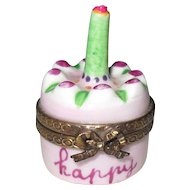 Vintage Limoges France HP Chenille Happy Birthday Cake Signed Pill Trinket Box
