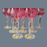 Nachtmann Traube Ruby Cut to Clear Wine Glasses Set of 10