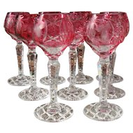 Nachtmann Traube Ruby Cut to Clear Cordial Wine Glasses Set of 9