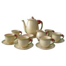 Rare Royal Winton Grimwades Cream Tiger Lily 5773 Coffee Service for Six
