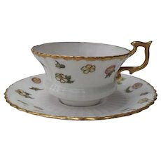 Antique Hammersley Floral Gilt Demitasse Cup and Saucer