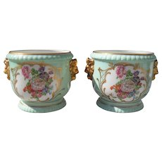 Pair of Couleuvre Limoges France Jardinieres Handpainted Florals Soft Green