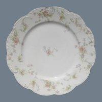 Haviland Limoges The Princess Dinner Plate Pink Roses/Blue Ribbons