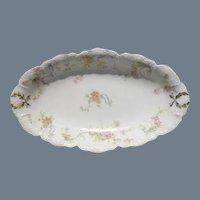 Haviland Limoges The Princess Oval Relish Dish Pink Roses/Blue Ribbons