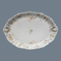 """Haviland Limoges The Princess 12 1/4"""" Platter Pink Roses/Blue Ribbons"""
