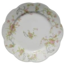 Haviland Limoges The Princess Bread Plate Pink Roses/Blue Ribbons  6 1/4""