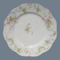 """Haviland Limoges The Princess Dessert Plate Pink Roses/Blue Ribbons 7 1/2"""""""